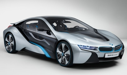 A three-quarter front view of the BMW i8 Concept, which is making its North American debut at the 2011 Los Angeles Auto Show