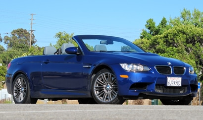 A three-quarter front view of a 2013 BMW M3 Convertible