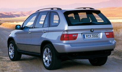 A three-quarter rear view of a BMW X5