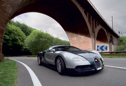 A view of the 2006 Bugatti Veyron 16.4 on the road