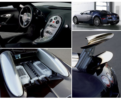 Several shots of the interior, engine and exterior details of a 2006 Bugatti Veyron 16.4