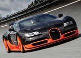 The Bugatti Veyron 16.4 Super Sport on the track