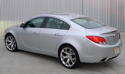 A three-quarter rear view of a 2012 Buick Regal GS