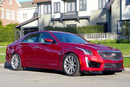 A three-quarter front view of the 2016 Cadillac CTS-V Sedan RWD
