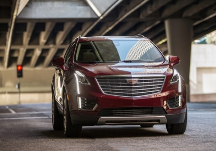 A three-quarter front view of the 2017 Cadillac XT5, GAYOT's Car of the Month for August 2016