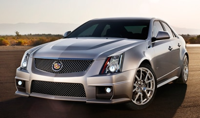 A three-quarter front view of the 2014 Cadillac CTS-V