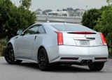A three-quarter rear view of a 2011 Cadillac CTS-V Coupe