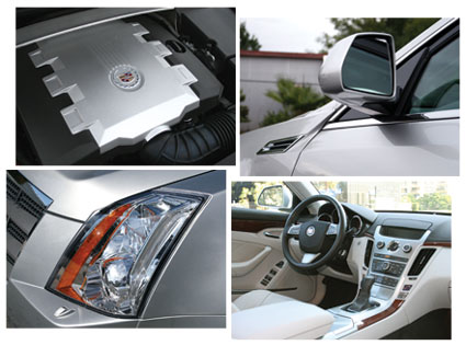 Cadillac CTS 3.6L V6 direct injection engine, rearview mirror, headlight and interior