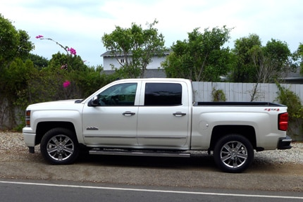 A side view of a Chevy Silverado High Country
