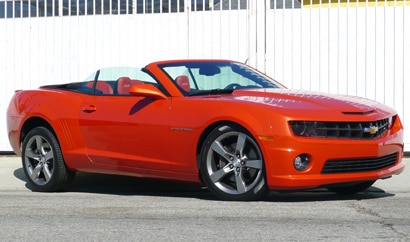 A three-quarter front view of a 2012 Chevrolet Camaro 2SS Convertible