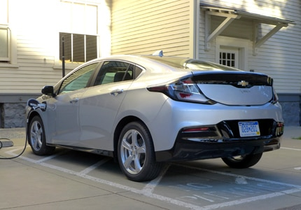 A three-quarter rear view of a 2016 Chevrolet Volt Premier hatchback electric-hybrid plug-in vehicle