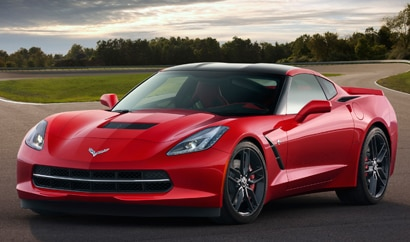 A three-quarter front view of a 2014 Chevrolet Corvette Stingray