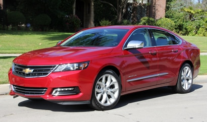 A three-quarter front view of the 2014 Chevrolet Impala