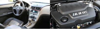 Views of the front interior and engine of the 2008 Chevrolet Malibu LTZ