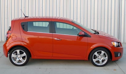 A side view of a 2012 Chevrolet Sonic LTZ