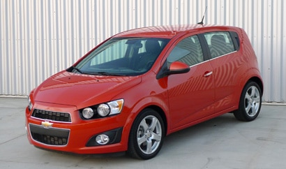 A three-quarter front view of a 2012 Chevrolet Sonic LTZ