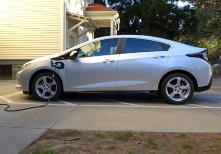 A side view of the 2016 Chevrolet Volt Premier charging