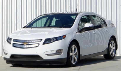 A three-quarter front view of a white 2012 Chevrolet Volt
