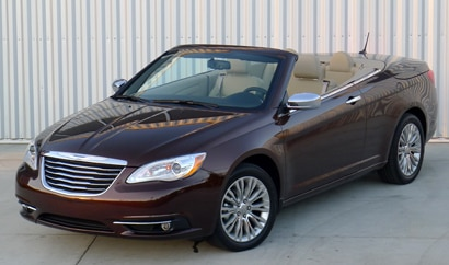 A three-quarter front view of a 2012 Chrysler 200 Convertible