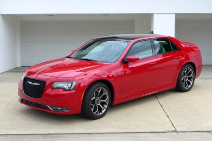 A three-quarter front view of the all-new Chrysler 300S Sedan in redline 3 coat