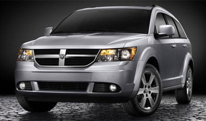 a three-quarter front view of a Dodge Journey
