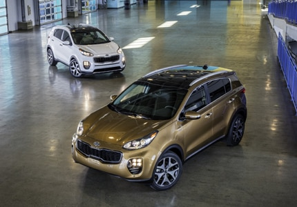 A birds-eye view of a pair of 2017 Kia Sportage crossover vehicles