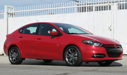A three-quarter front view of a 2014 Dodge Dart, one of our Top 10 Cars for Teenagers