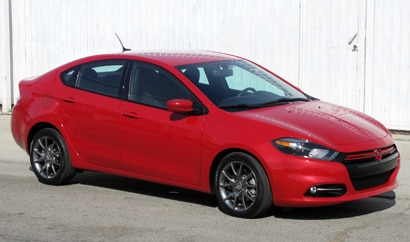 A three-quarter front view of a 2013 Dodge Dart Rallye