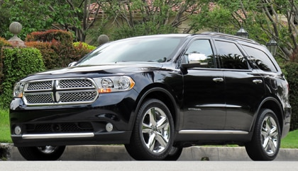 A three-quarter front view of a 2011 Dodge Durango Citadel