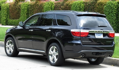 A three-quarter rear view of a 2011 Dodge Durango Citadel