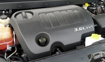 The 3.6-liter V6 engine of the 2012 Dodge Journey Crew