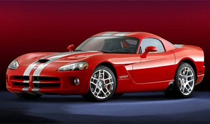A three-quarter front view of a red 2008 Dodge Viper SRT10 Coupe