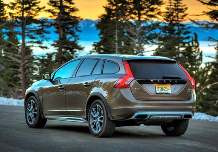 A three-quarter rear view of a 2016 Volvo V60 T5 Cross Country