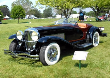 A classic automobile on display at the Concours d'Elegance of the Eastern United States