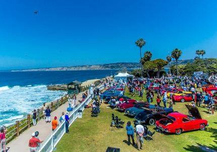 The annual La Jolla Concours d'Elegance is hosted on the picturesque La Jolla beach in California