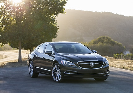 A three-quarter front view of the 2017 Buick LaCrosse, GAYOT's Car of the Month for November