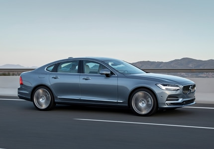 A three-quarter front view of the 2017 Volvo S90 sedan