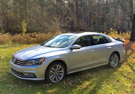 A three-quarter front view of the 2016 Volkswagen Passat SEL Premium sedan