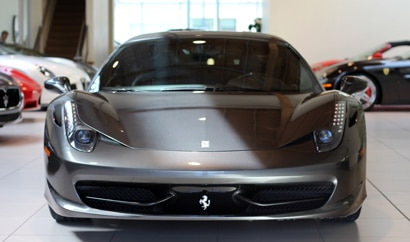 A front view of a Ferrari 458 Italia