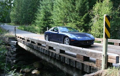 A three-quarter front view of a 2006 Ferrari 612 Scaglietti on the road in Oregon