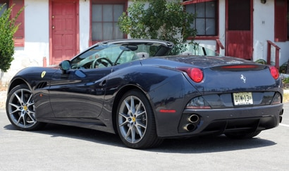 A three-quarter rear view of the Ferrari California, previously one of GAYOT's Top 10 Romantic Cars