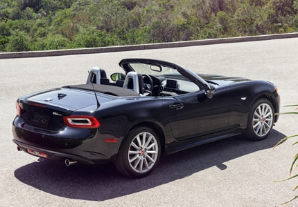 A three-quarter rear view of the 2017 Fiat 124 Spider