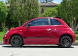 A side view of a 2013 Fiat 500 Abarth Cabrio