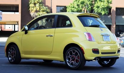 A three-quarter rear view of a 2012 Fiat 500 Sport