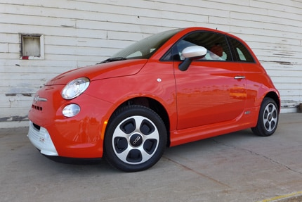 A Fiat 500e, one of GAYOT's Top 10 Electric Cars
