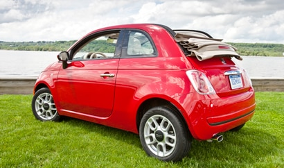 A three-quarter rear view of a 2012 Fiat 500c