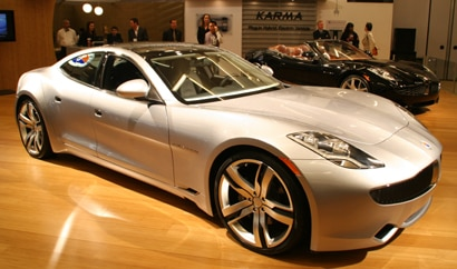 A three-quarter front view of a Fisker Karma