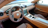 An interior view of the 2012 Fisker Karma EcoSport