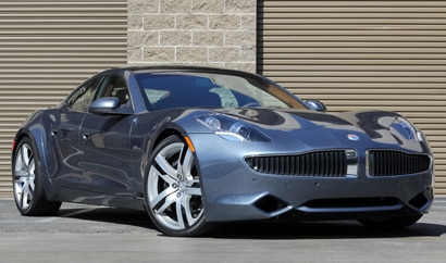 A three-quarter front view of a 2012 Fisker Karma EcoSport