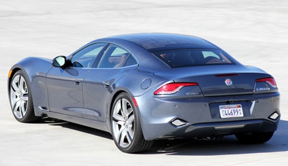A three-quarter rear view of a 2012 Fisker Karma EcoSport